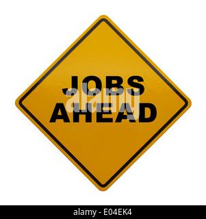 Panneau jaune avec Job Forcast isolé sur fond blanc. Banque D'Images