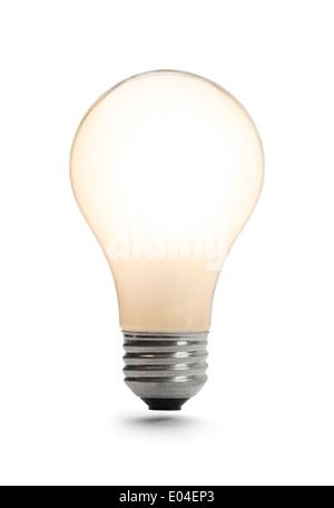 L'ampoule classique illuminé isolé sur un fond blanc. Banque D'Images