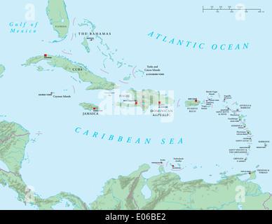 Caraïbes - grandes et petites Antilles - Carte Politique