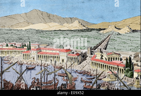La Grèce antique. Le Pirée ou le port d'Athènes. Aperçu de l'histoire générale, 1899. La gravure. Plus tard la couleur. Banque D'Images
