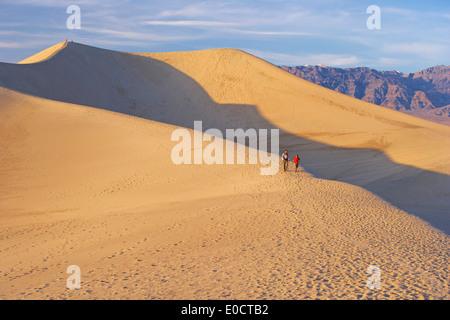 Vue sur Mesquite Flat dunes de sable sur Amargosa range dans la lumière du soir, la Death Valley National Park, California, USA, Americ
