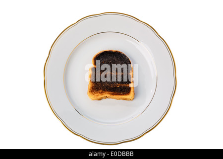 Griller le pain s'burntly. Burntly avec disques toast le petit-déjeuner., toasten Toastbrot wurde beim verbrannt.