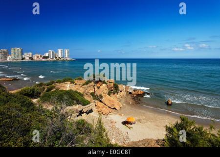 Plage de sable fin, Oropesa del Mar, Costa del Azahar, Province Castellon, Espagne Banque D'Images