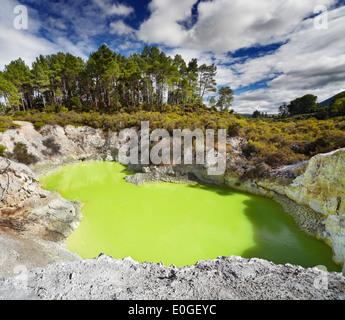 Baignoire du diable dans la piscine thermale de Waiotapu, Rotorua, Nouvelle-Zélande Banque D'Images