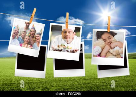 Image composite de instant photos accroché sur une ligne Banque D'Images
