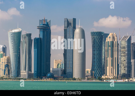 Doha, Qatar, Moyen-Orient, nouvelle skyline West Bay central financial district