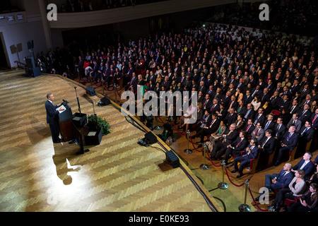 Le président américain Barack Obama prononce une allocution au Palais des Beaux Arts 24 mars 2014 à Bruxelles, Belgique. Banque D'Images