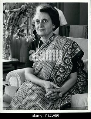 Avril 18, 2012 - Le Premier Ministre de l'Inde, Indira Gandhi. Banque D'Images