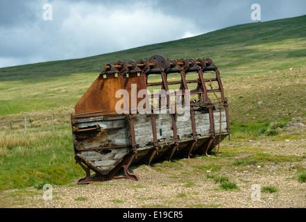Usine de broyage abandonnés Mine Silverband, Great Dun Fell, Milburn Forêt, Cumbria, Angleterre, Royaume-Uni, Europe. Banque D'Images