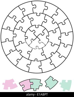 Les cercles Puzzle casse-tête - sous la forme de cercles avec des pièces uniques qui peuvent être retirés individuellement Banque D'Images