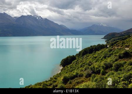 Vue de l'extrémité nord du lac Wakatipu, près de Glenorchy, Otago, île du Sud, Nouvelle-Zélande, Pacifique Sud Banque D'Images