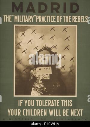 L'affiche de la langue anglaise républicaine nationaliste s'attaquer à la pratique des bombardements aériens. Les Banque D'Images