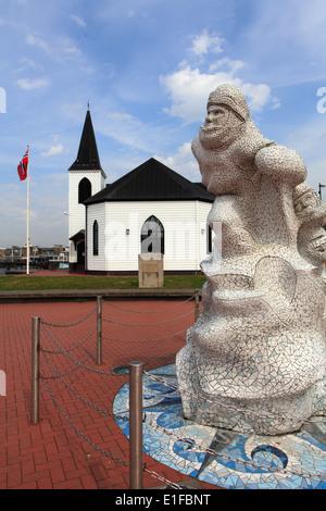 Royaume-uni, Pays de Galles, Cardiff Bay, l'Église norvégienne, l'Antarctique, 100, Memorial Banque D'Images