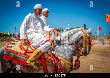 Détail de l'arabe à la décoration traditionnelle de chevaux Barb fantasia près de Rabat au Maroc. Banque D'Images