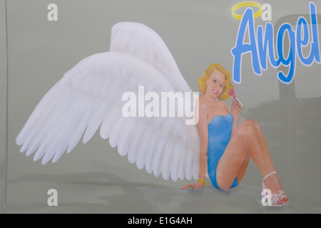 Camion peint à la bombe Ange assis Banque D'Images