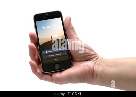 L'application Instagram sur un iphone 5 écran Banque D'Images