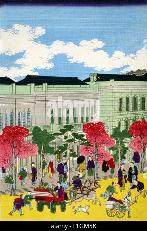 Vues des rues de Tokyo avec des bâtiments, des personnes et des divers modes de transport Banque D'Images