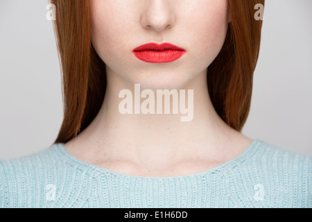 Portrait of young woman's lips Banque D'Images
