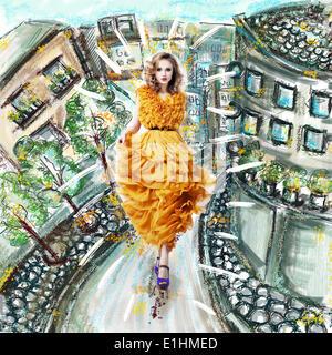 Belle femme blonde mannequin en robe jaune Banque D'Images
