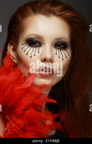 Le théâtre. Stade. Titre Woman's Face with Creative Eye Make-up Banque D'Images