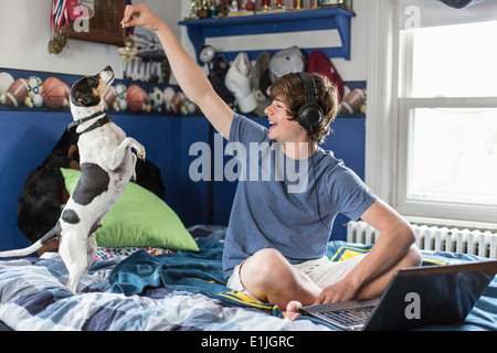 Teenage boy sitting on bed with laptop computer, Playing with dog Banque D'Images