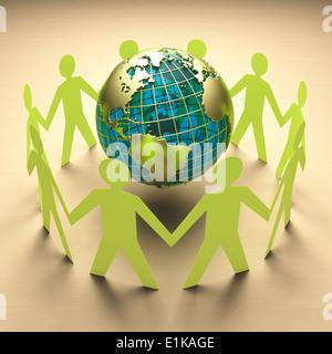 Chaîne du papier de personnes se tenant la main autour du monde studio shot. Banque D'Images