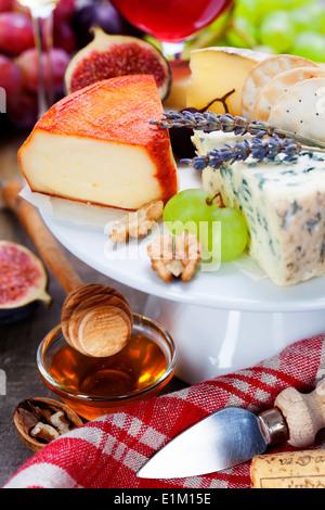 Vin et fromage - close up de droit