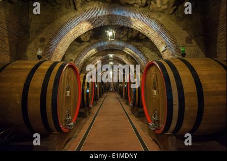 Des tonneaux de vin dans une cave à Montepulciano, Toscane Banque D'Images