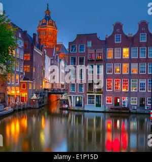 Amsterdam dans la nuit Banque D'Images