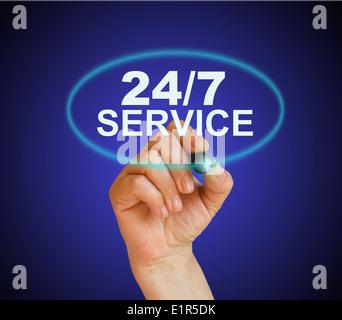 Écrit mot service 24 heures sur 24, avec le marqueur sur background fait en 2d software Banque D'Images
