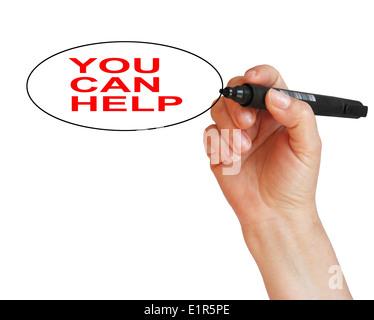 'Vous pouvez aider' mot écrit isolées sur fond blanc Banque D'Images