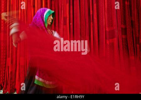 L'Inde, Rajasthan, sari garment factory Banque D'Images