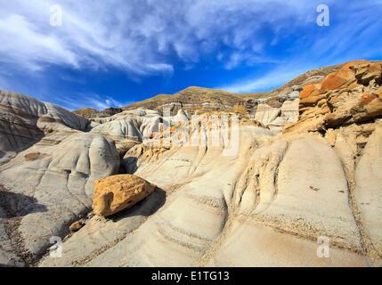 Les cheminées, des formations rocheuses dans les Badlands, Drumheller, Alberta, Canada Banque D'Images