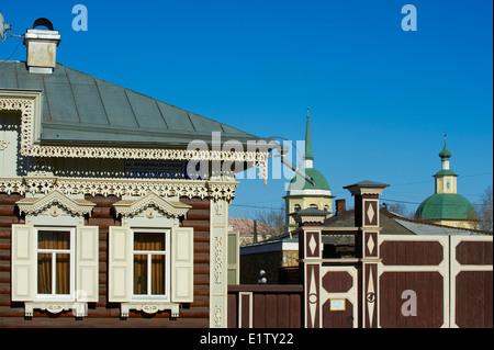 La Russie, en Sibérie, d'Irkoutsk, de l'architecture en bois, la Maison de l'Europe Banque D'Images