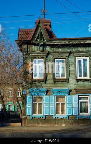 La Russie, en Sibérie, d'Irkoutsk, de l'architecture en bois Banque D'Images