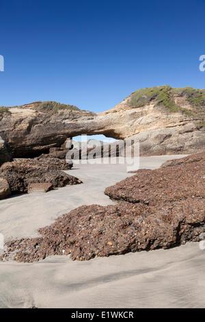 Rock sur archway Wharariki Beach sur l'île du sud de Nouvelle-Zélande à marée basse Banque D'Images