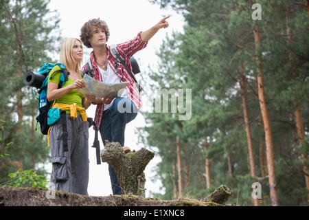 Les jeunes randonnées couple with map discussing over direction in forest Banque D'Images