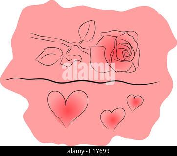 rose sur fond noir Banque D'Images