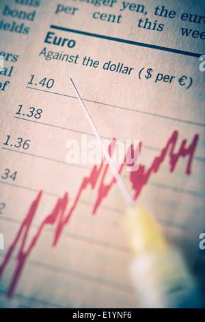 La chute de l'euro contre le dollar et la livre Concept. Banque D'Images