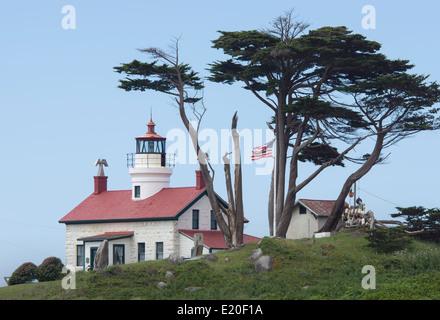 Phare de Battery Point historique situé près de Crescent City, Californie du nord, sur la côte de l'océan Pacifique. Banque D'Images