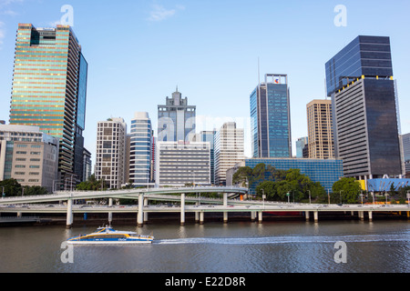 Australie, Queensland, Brisbane, Central, District, CBD, Victoria Bridge, Southbank, ville SkyScape, gratte-ciel, Banque D'Images