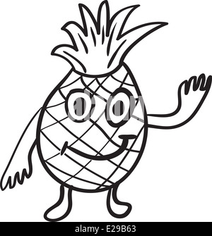 Ananas Fruits Rire Dillustration Vectorielle Hand Drawn