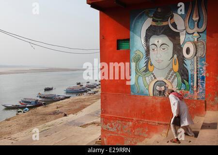 L'Inde, Uttar Pradesh State, Varanasi, Dieu Shiva murales de l'Narad Ghat Banque D'Images