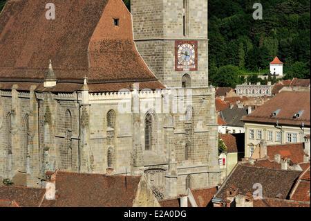 La Roumanie, la Transylvanie, Brasov, Biserica Neagră (l'église noire), construit entre 1383 et 1477, c'est la plus Banque D'Images