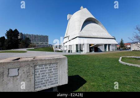 France, Loire, Firminy, Le Corbusier site de Firminy Firminy (Vert), église Saint Pierre conçu par Le Corbusier Banque D'Images