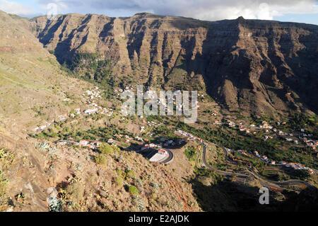 Espagne, Canaries, La Gomera, Valle Gran Rey, la Vallée Village avec El Granado Banque D'Images