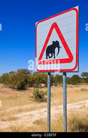 La Namibie, région de Kunene Kaokoland, ou des environs, Kaokoveld Opuwo, signalisation routière: Danger elephant Banque D'Images
