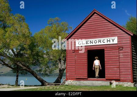 L'île du Sud Nouvelle-zélande Otago la région du lac Wakatipu à Glenorchy boatshed près de wharf Banque D'Images
