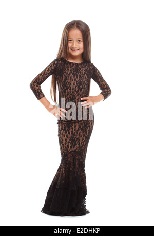 Jolie jeune femme élégante robe isolated on white Banque D'Images
