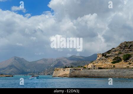 La Grèce La Crète Agios Nikolaos Elounda island région Fort Spinalonga (Kalydon) Forteresse Vénitienne Banque D'Images